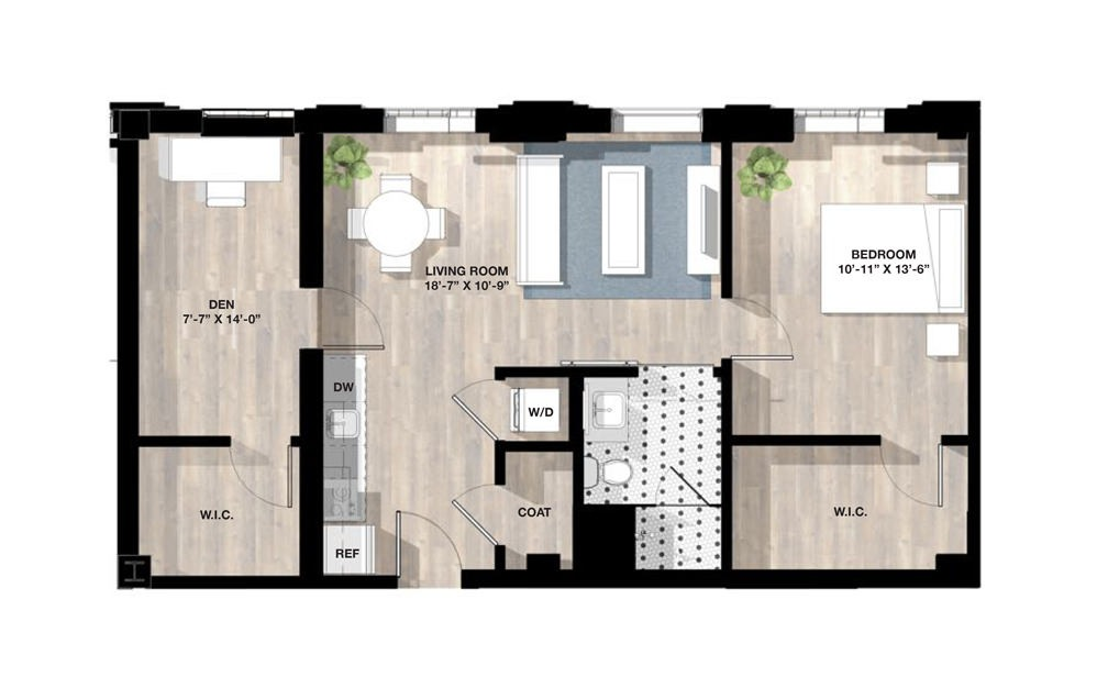 1 Bed 1A +Den - 1 bedroom floorplan layout with 1 bath and 776 square feet.