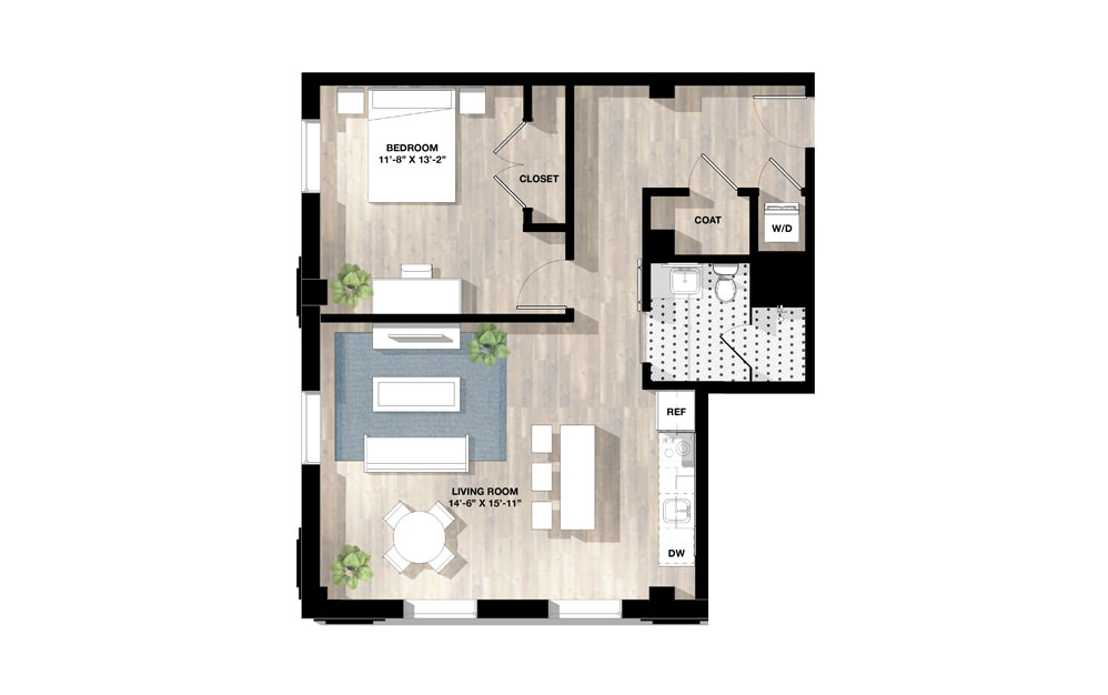 1 Bed 1C - 1 bedroom floorplan layout with 1 bath and 830 square feet.