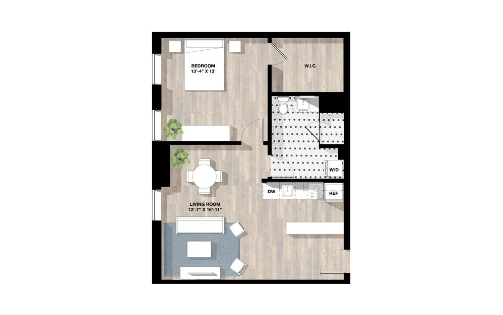 1 Bed 1D - 1 bedroom floorplan layout with 1 bath and 780 square feet.