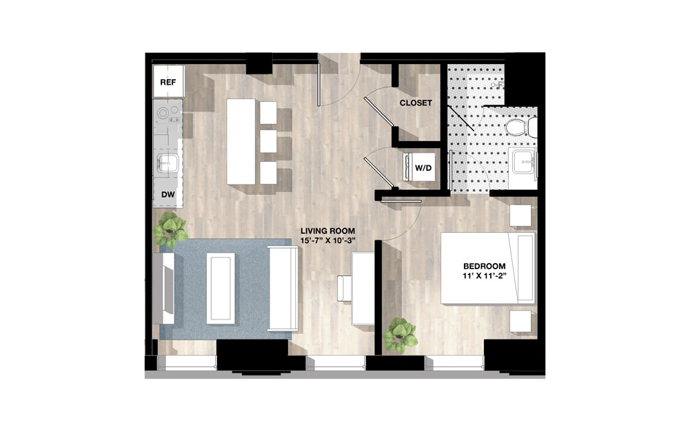 1 Bed 1E - 1 bedroom floorplan layout with 1 bath and 623 square feet.