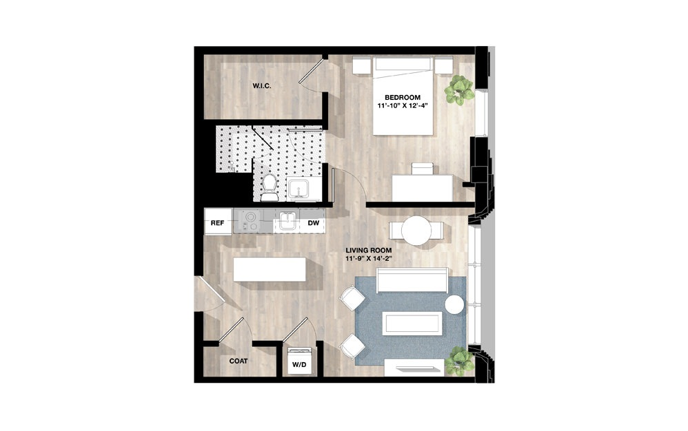 1 Bed 1F - 1 bedroom floorplan layout with 1 bath and 667 square feet.