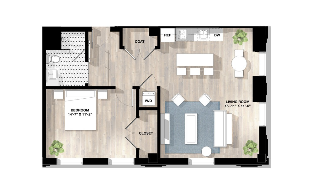 1 Bed 1G - 1 bedroom floorplan layout with 1 bath and 805 square feet.