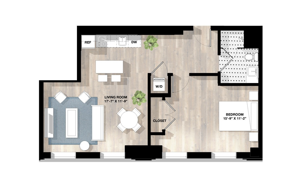 1 Bed 1H - 1 bedroom floorplan layout with 1 bath and 732 to 765 square feet.