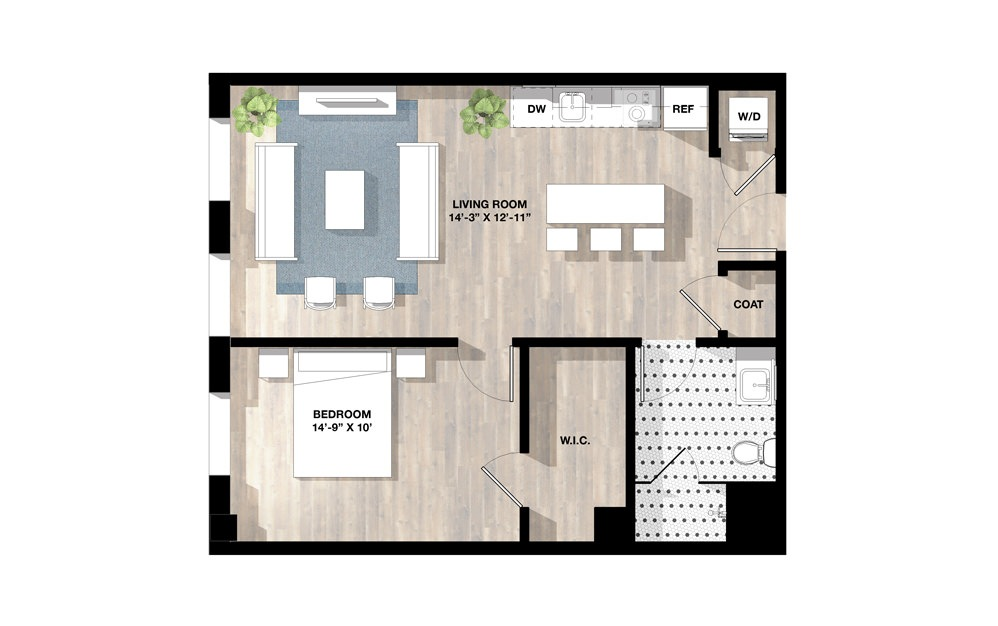 1 Bed 1K - 1 bedroom floorplan layout with 1 bath and 708 square feet.