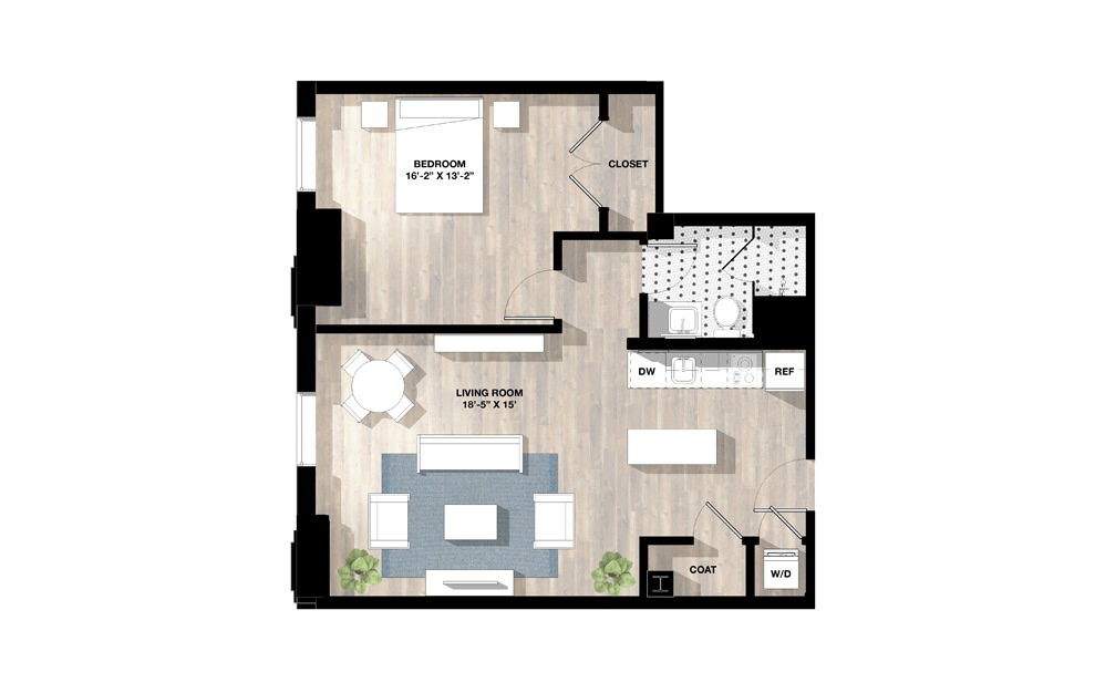 1 Bed 1L - 1 bedroom floorplan layout with 1 bath and 796 to 809 square feet.