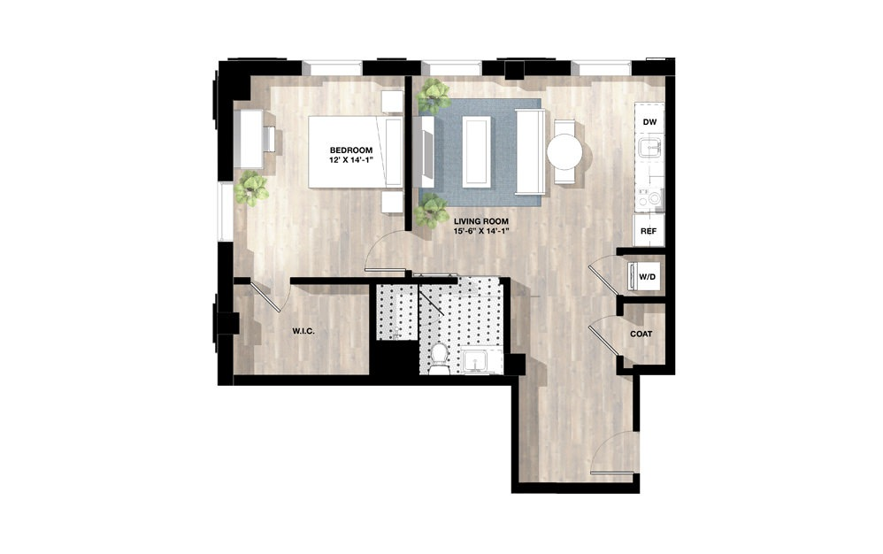 1 Bed 1M - 1 bedroom floorplan layout with 1 bath and 758 to 772 square feet.