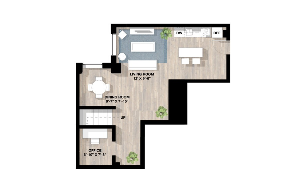 1 Bed 1N - 1 bedroom floorplan layout with 1 bath and 1224 square feet. (Floor 1)