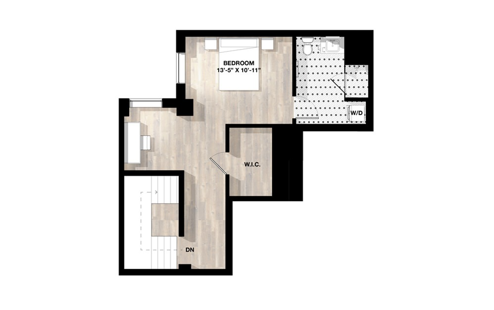 1 Bed 1N - 1 bedroom floorplan layout with 1 bath and 1224 square feet. (Floor 2)