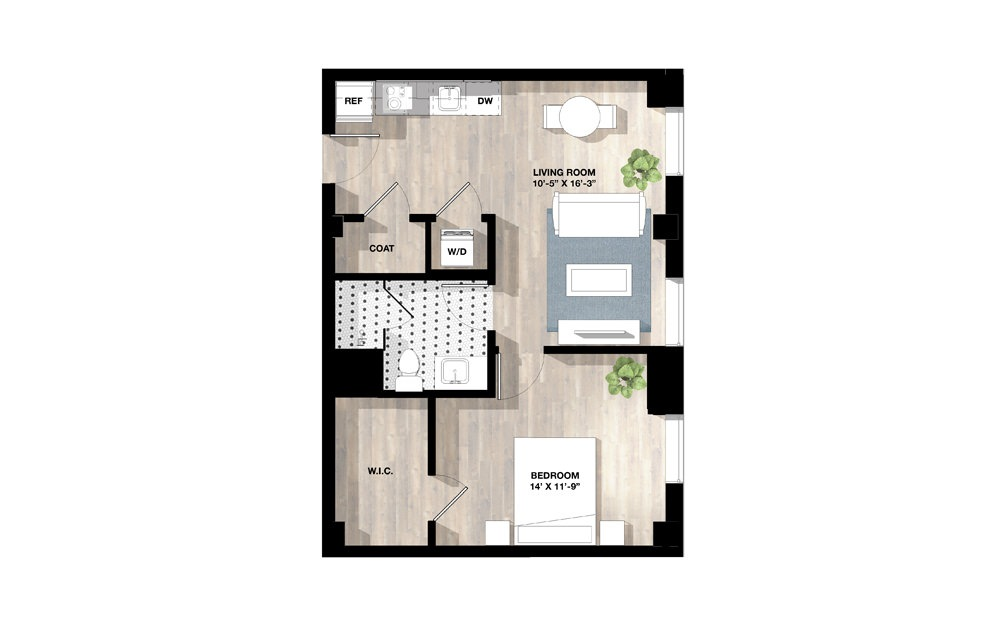1 Bed 1P - 1 bedroom floorplan layout with 1 bath and 610 to 756 square feet.