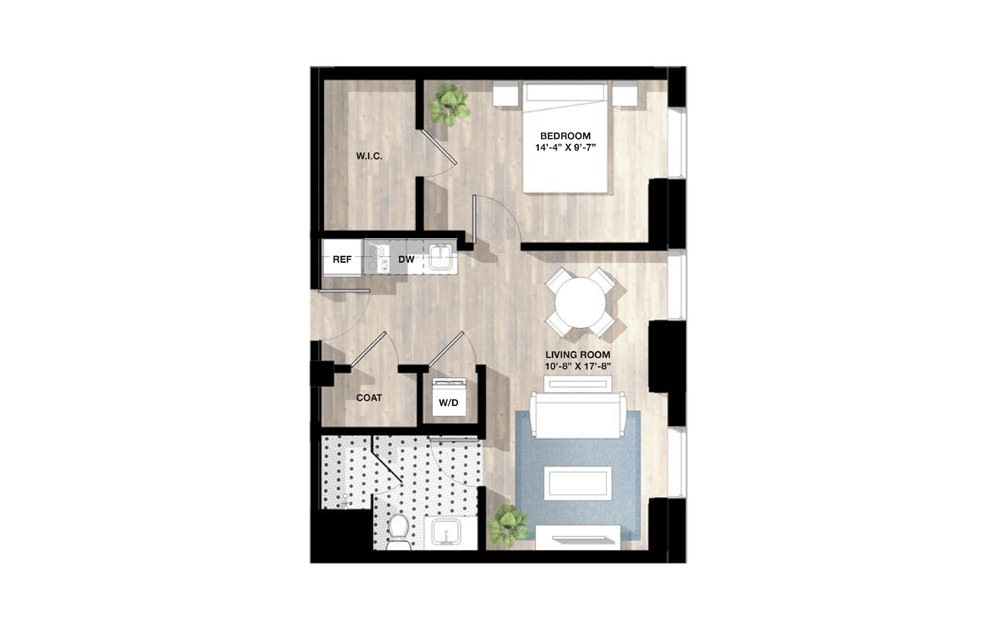 1 Bed 1Q - 1 bedroom floorplan layout with 1 bath and 595 to 758 square feet.