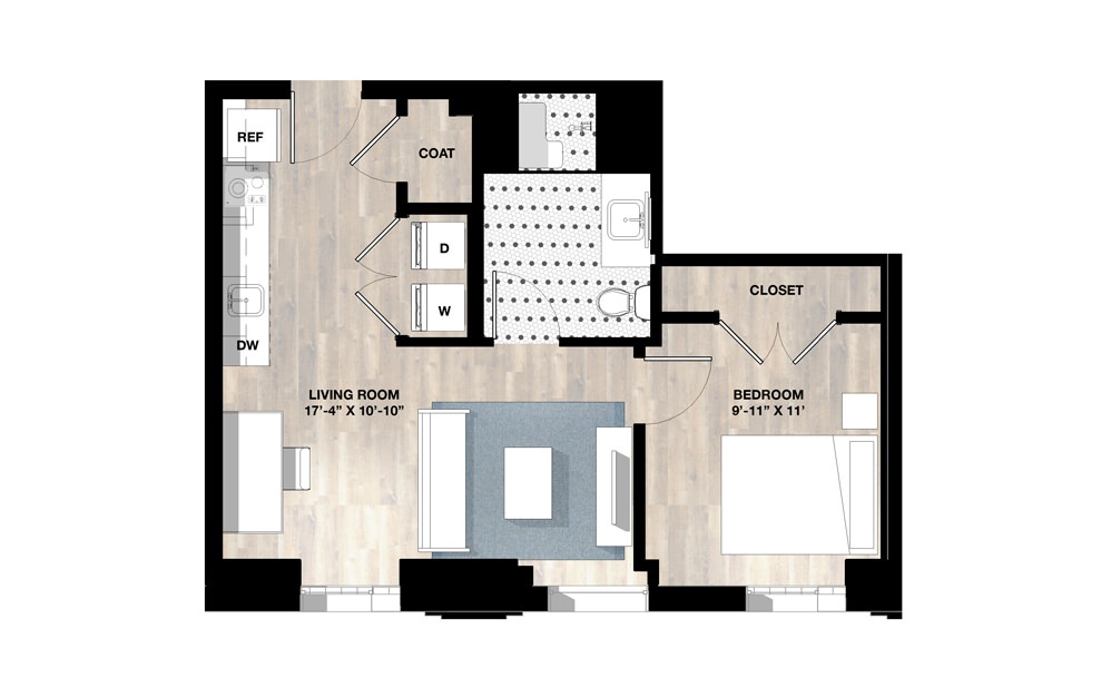 1Bed 1V Type A - 1 bedroom floorplan layout with 1 bath and 567 square feet.