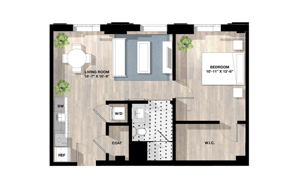 1 Bed 1A - 1 bedroom floorplan layout with 1 bath and 671 square feet.