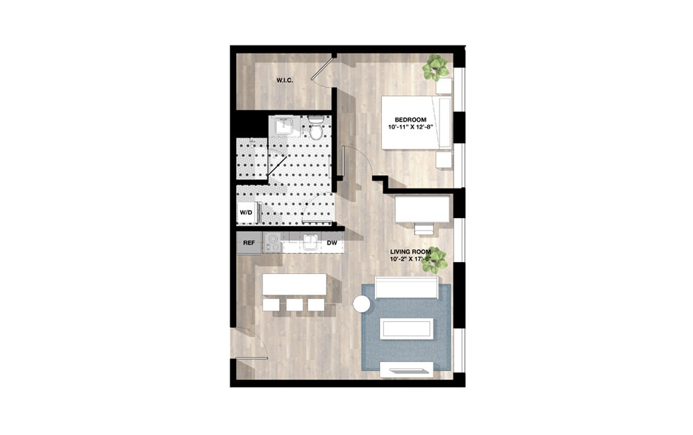 1 Bed 1 B - 1 bedroom floorplan layout with 1 bath and 699 square feet.