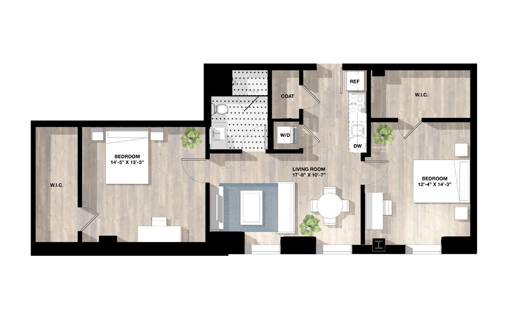 2 Bed 2A - 2 bedroom floorplan layout with 1 bath and 987 square feet.