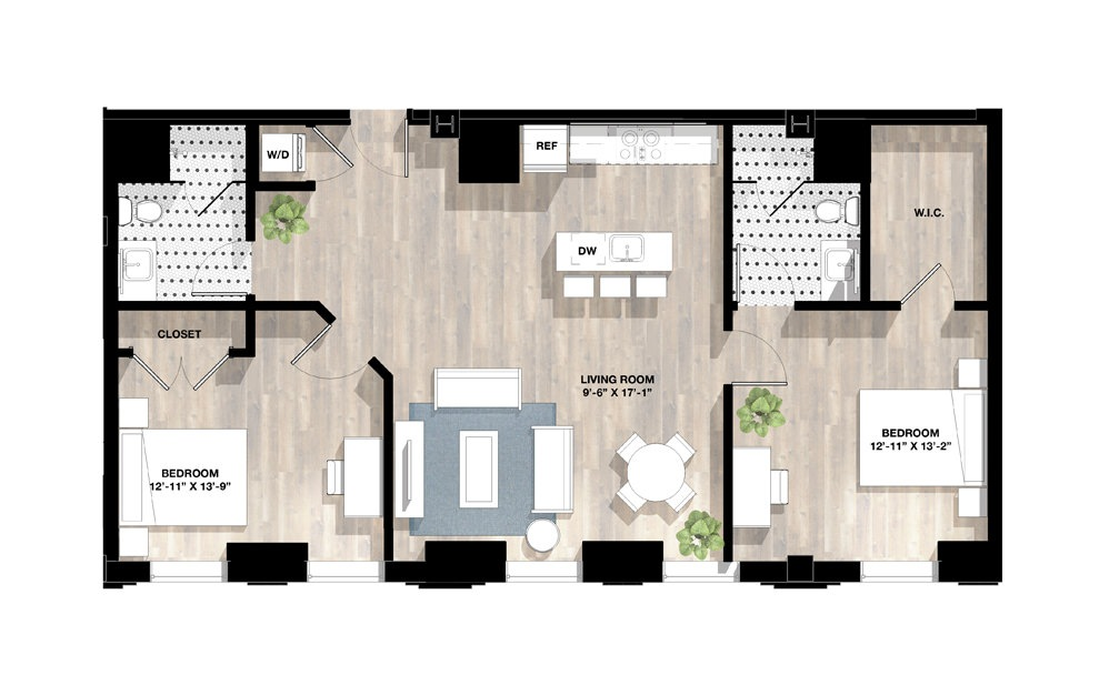 2 Bed 2B - 2 bedroom floorplan layout with 2 baths and 1112 to 1114 square feet.