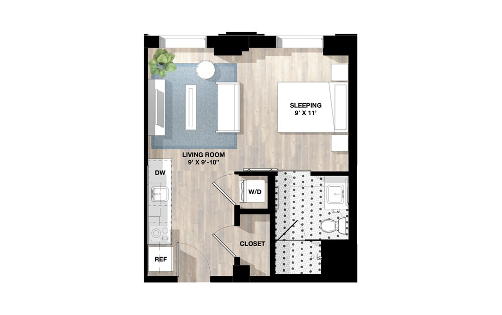 Studio SA - Studio floorplan layout with 1 bath and 411 to 619 square feet.