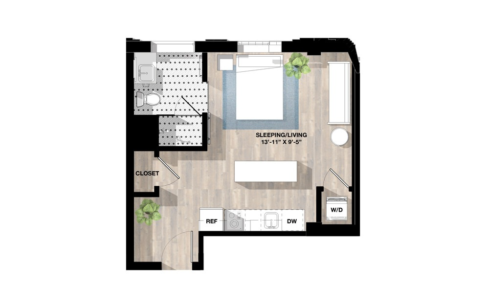 Studio SB - Studio floorplan layout with 1 bath and 434 square feet.
