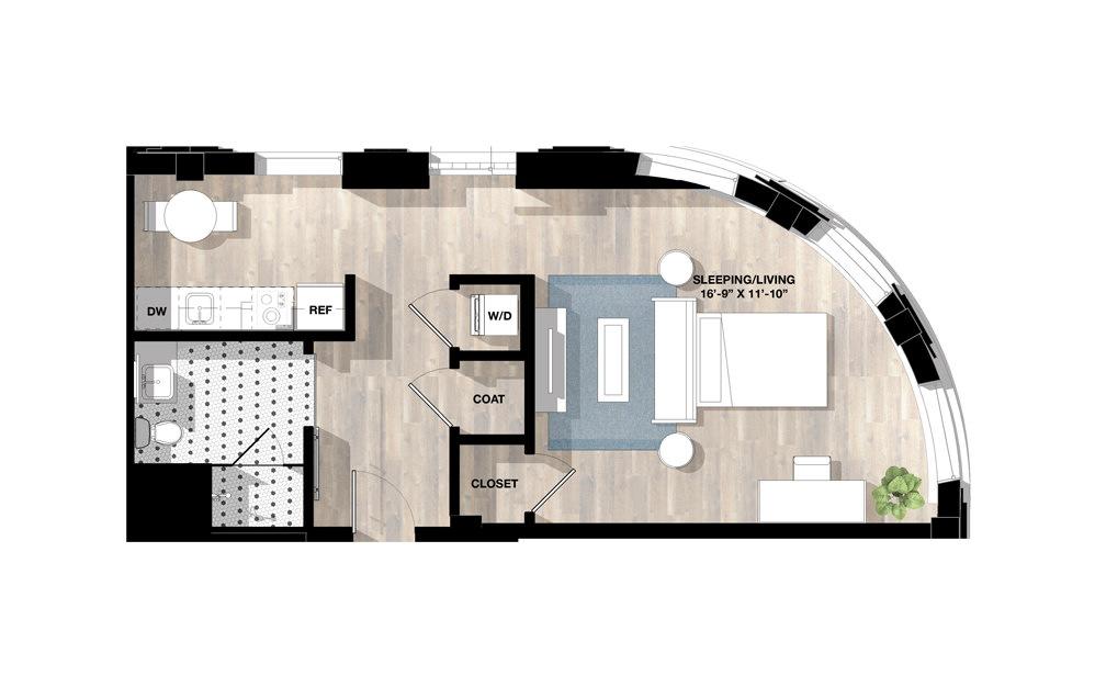 Studio SC - Studio floorplan layout with 1 bath and 690 square feet.