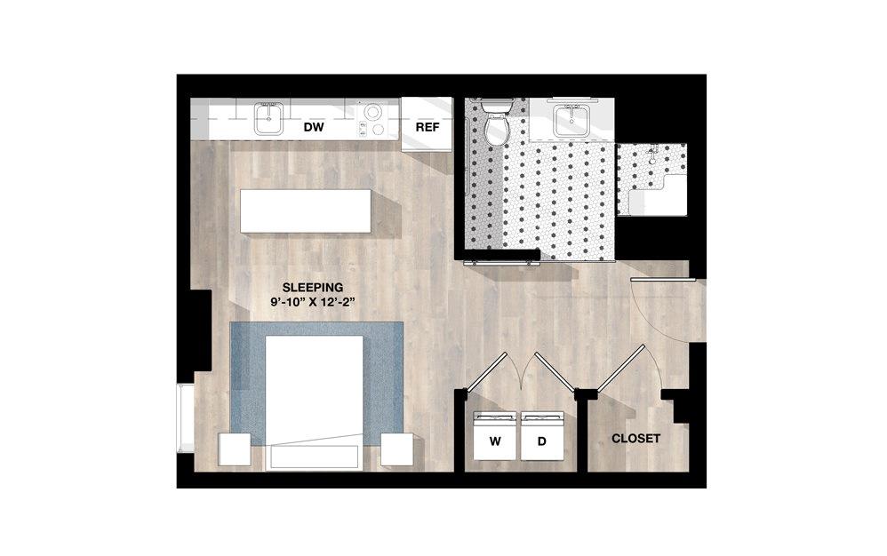Studio SD - Studio floorplan layout with 1 bath and 446 to 459 square feet.