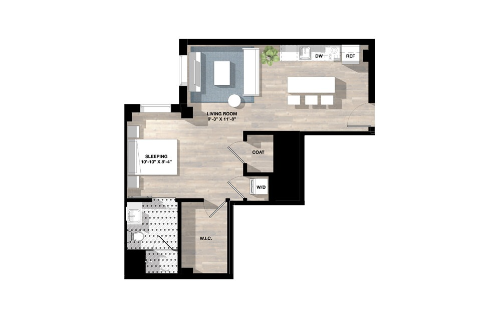 Studio SE - Studio floorplan layout with 1 bath and 611 to 614 square feet.