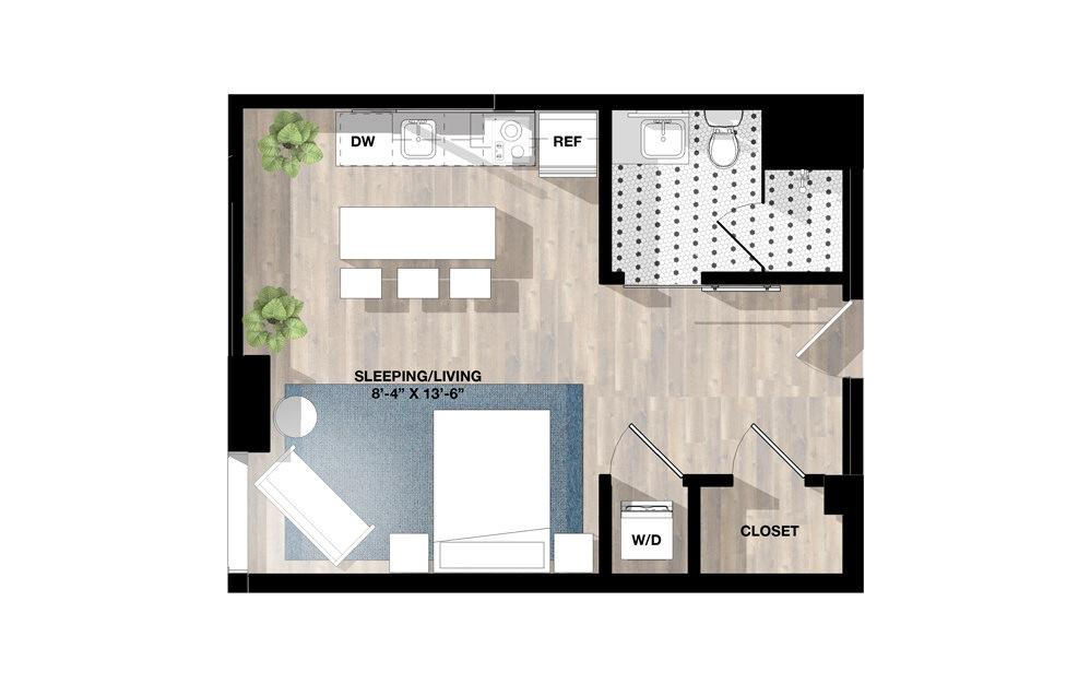 Studio SF - Studio floorplan layout with 1 bath and 447 to 462 square feet.