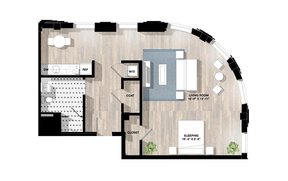Studio SG - Studio floorplan layout with 1 bath and 930 square feet.
