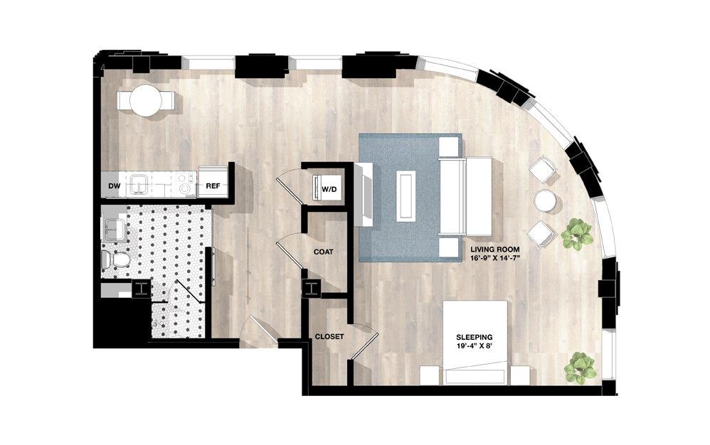Studio SH - Studio floorplan layout with 1 bath and 943 to 957 square feet.