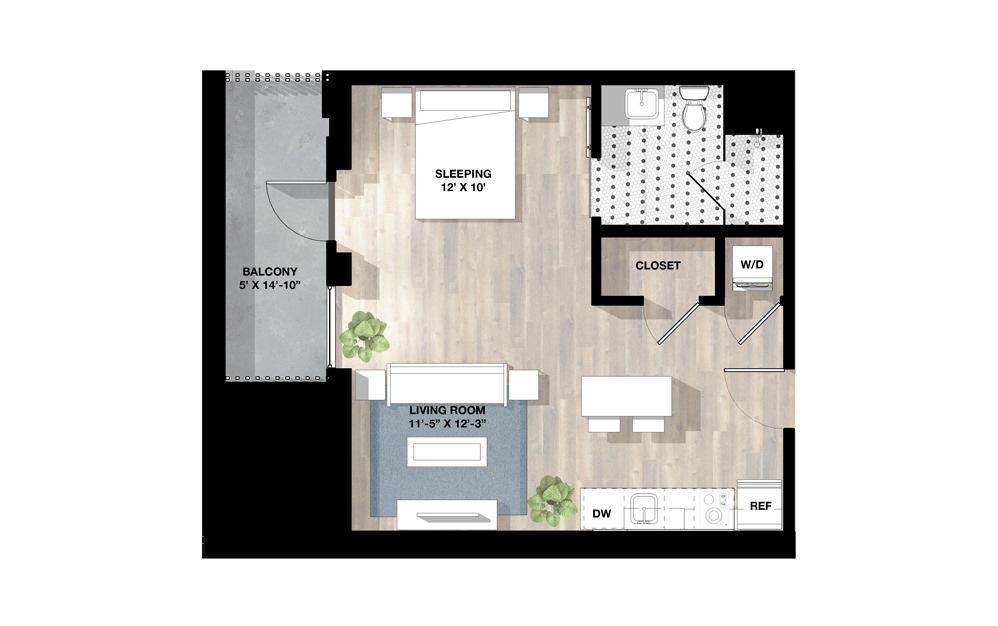 Studio SJ - Studio floorplan layout with 1 bath and 676 square feet.